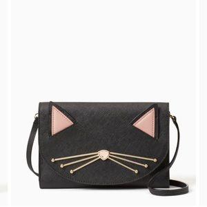 Kate spade black cat wallet on strap